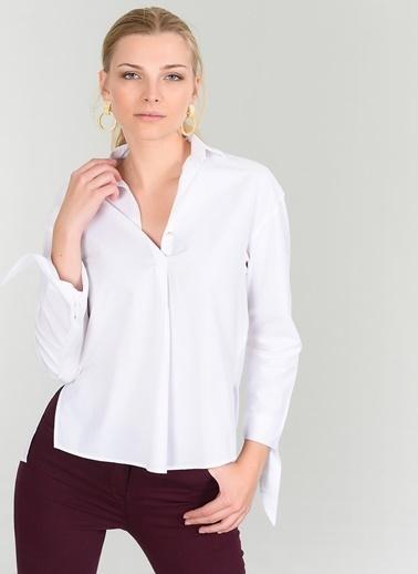 People By Fabrika Manşet Detaylı  Gömlek Beyaz
